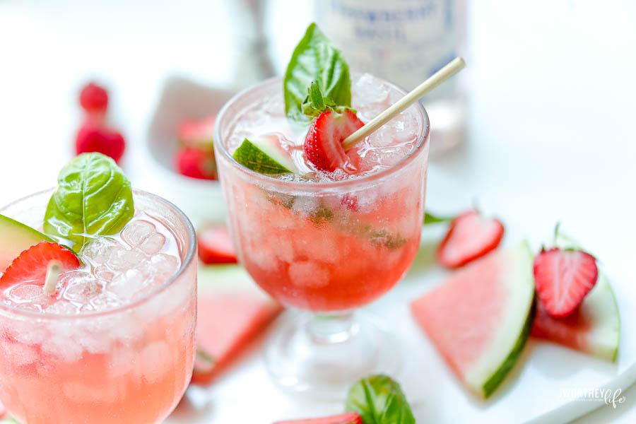 Watermelon Strawberry Basil Cocktail