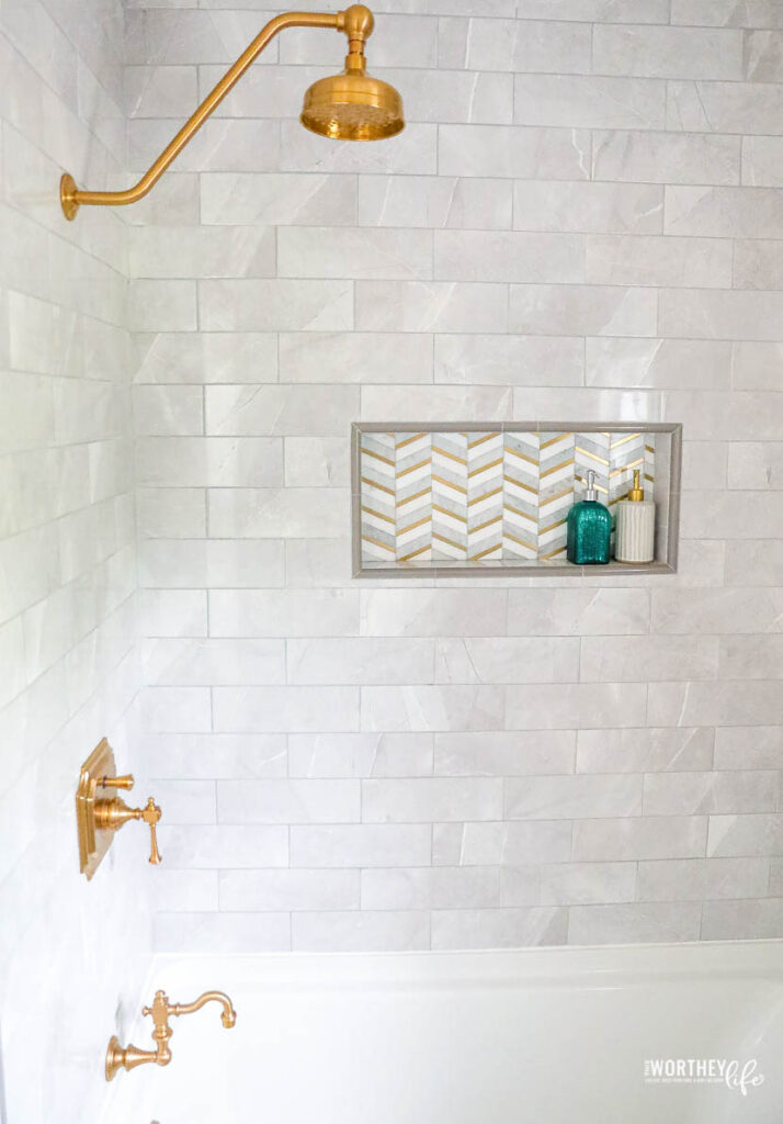 Grey tile for a shower in a small bathroom
