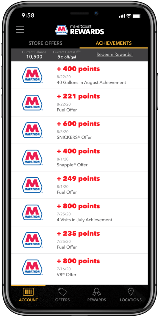 Marathon's MakeItCount Rewards app