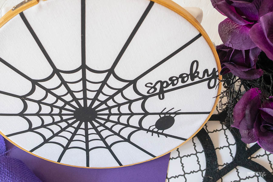 How to make Iron-On Spider Web Hoop Art with Cricut With FREE SVG