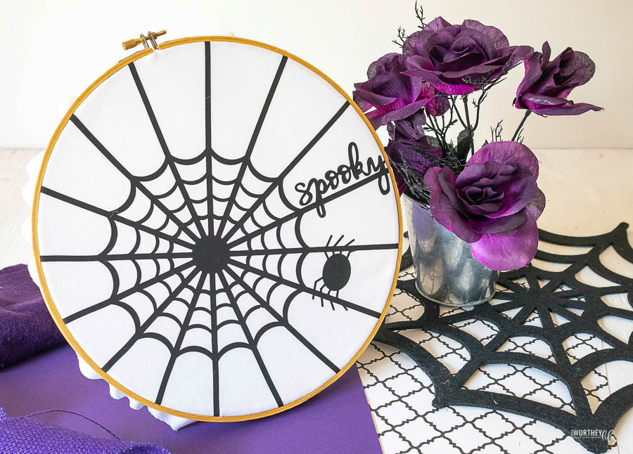 Instructions for Iron-On Spider Web Hoop Art with Cricut