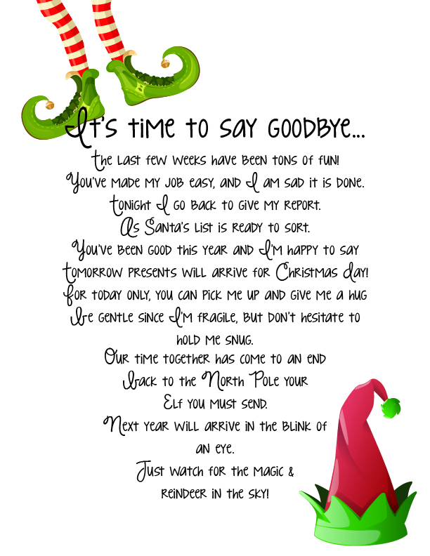 Elf on the Shelf Goodbye printable