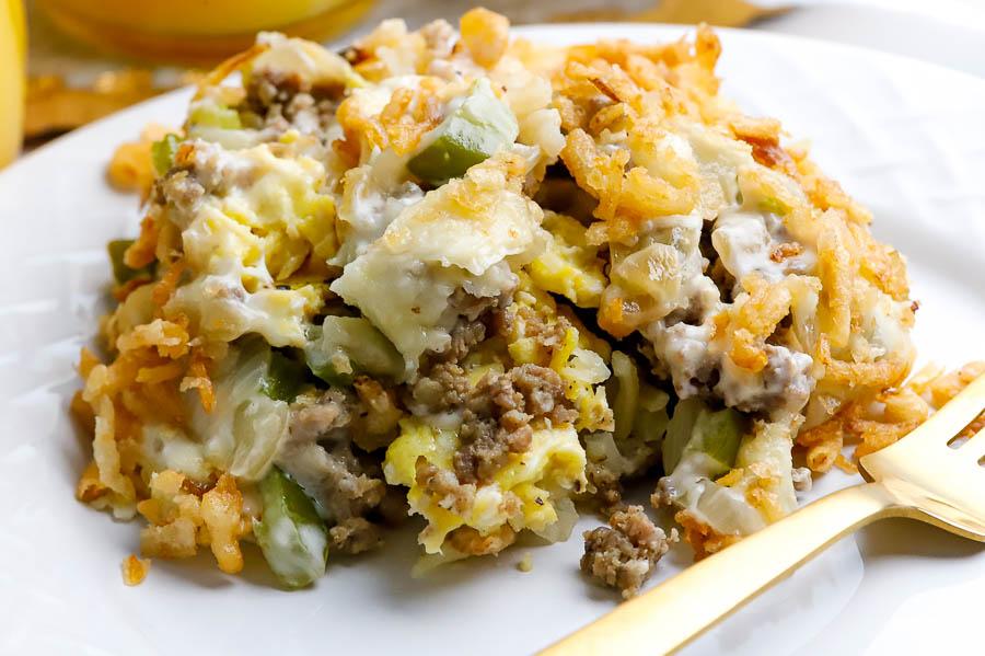 Ingredients for the easiest breakfast casserole recipe