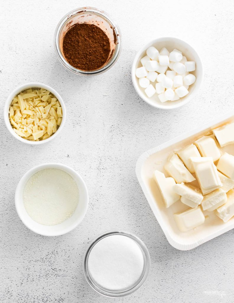 ingredients for heart shaped hot cocoa bombs