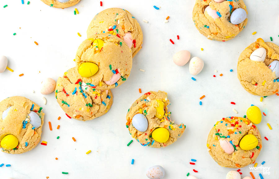 easter cookies on a white background