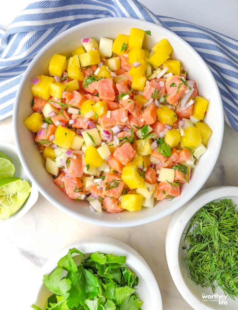 summer cold appetizer idea in a white bowl