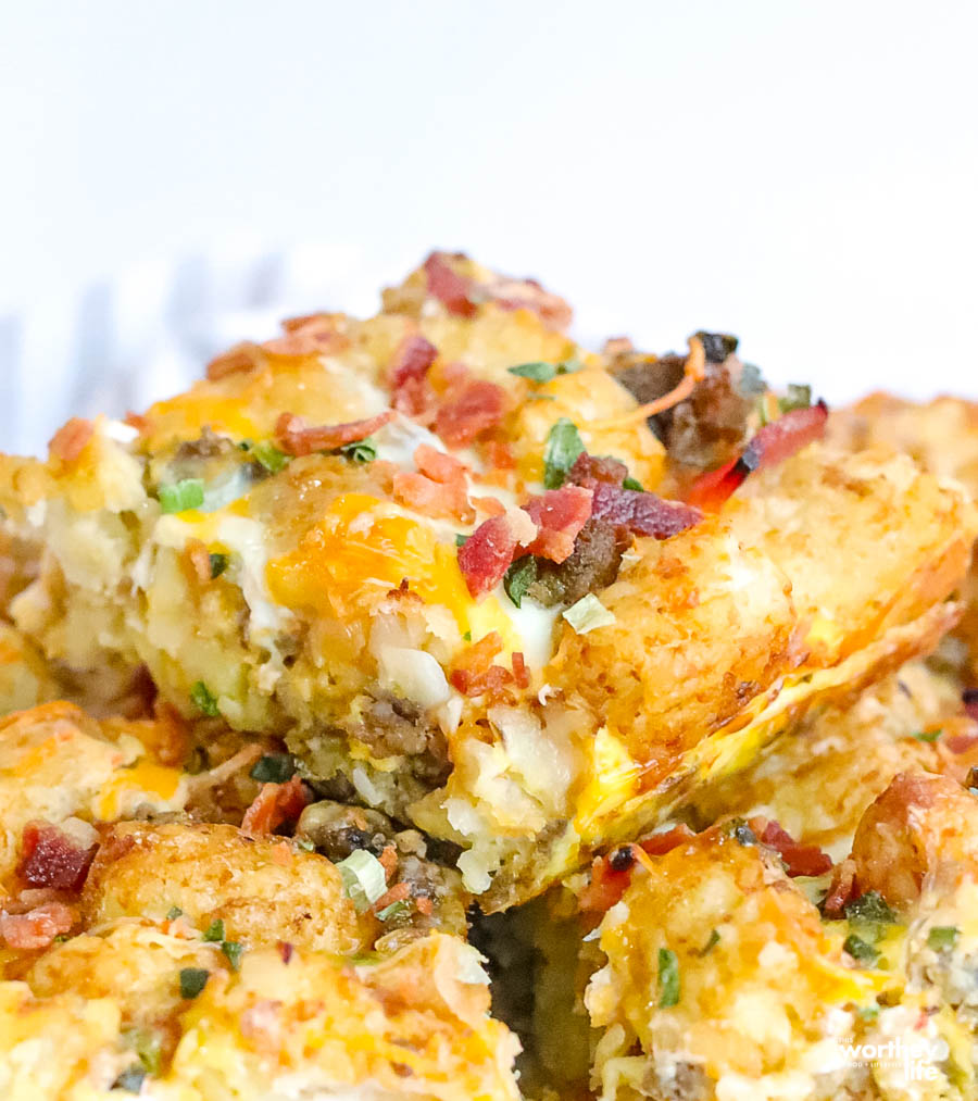 slice of Tater Tot Breakfast Casserole With Sausage