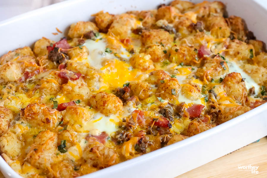 Tater Tot Breakfast Casserole With Sausage in a casserole dish