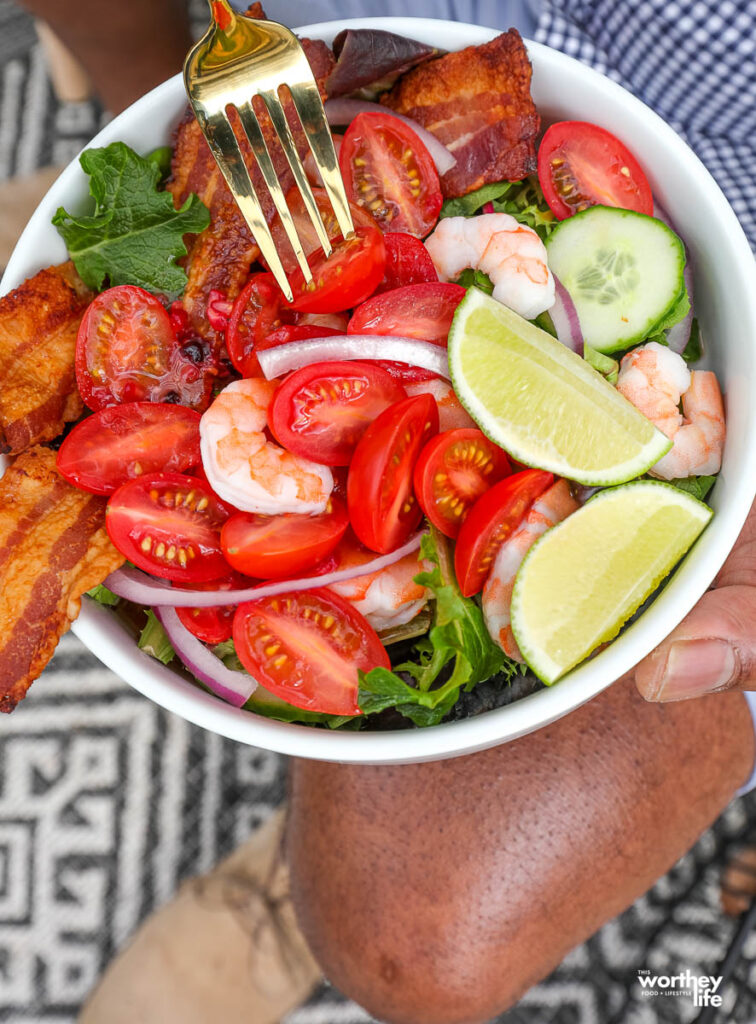 summer salad in a white bowl