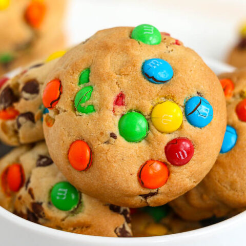 monster cookies in a white bowl