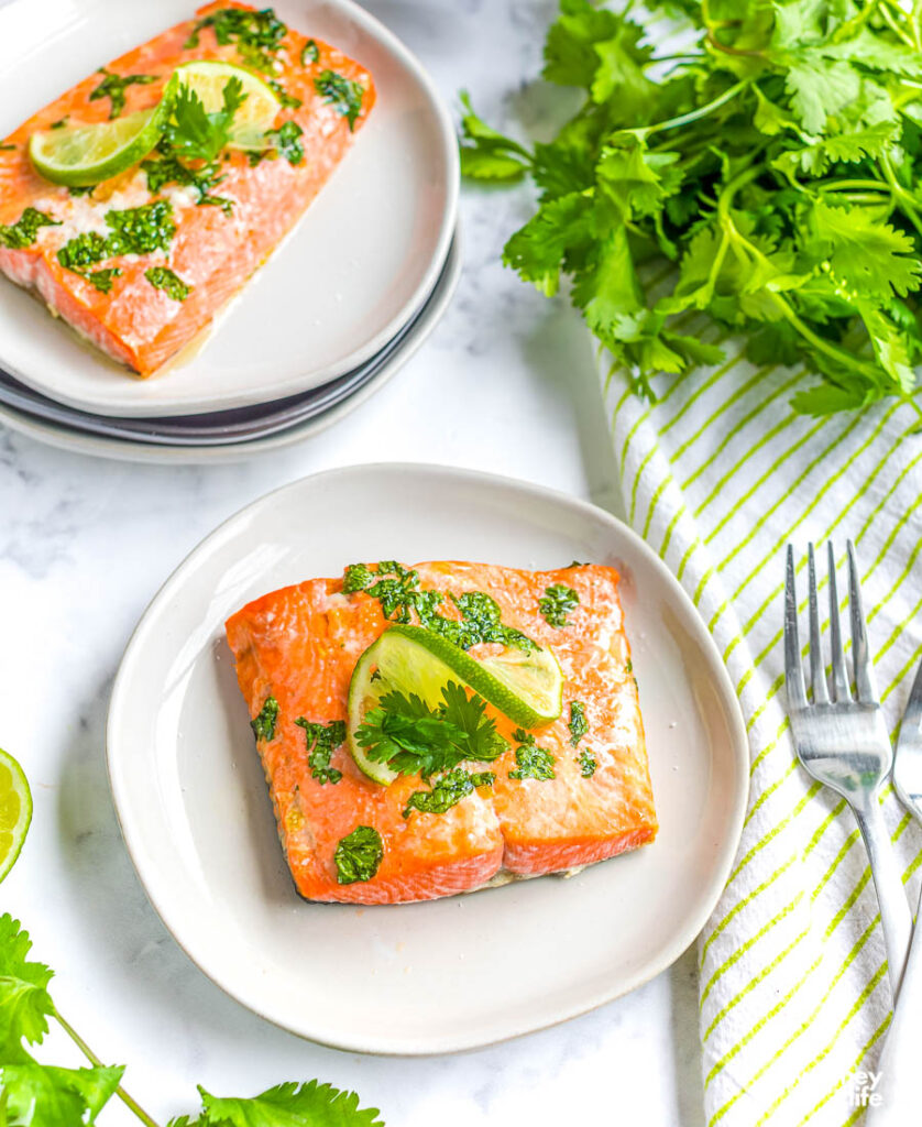 air fryer salmon on white plate