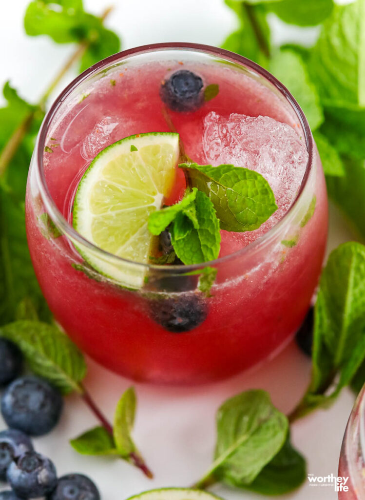 summer cocktail with fresh fruit