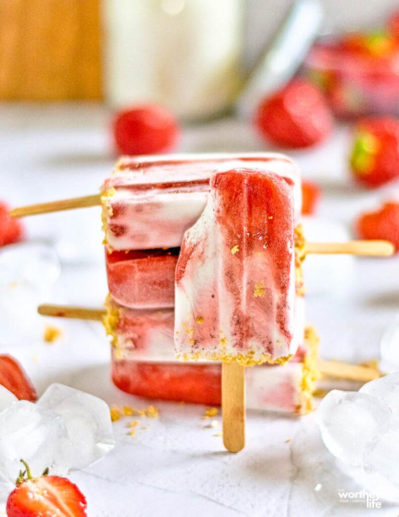 Strawberry + Coconut Milk Crumble Popsicles