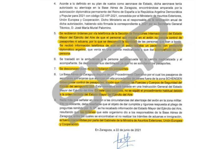 نسخة من الرسالة التي أرسلها الجنرال في مجال التنقل الجوي، خوسيه لويس أورتيز، إلى القضاء الإسباني