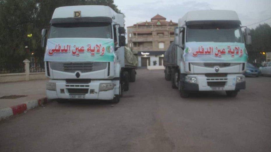 قوافل مساعدات من مختلفة ولايات الوطن تضامنا مع تيزي وزو
