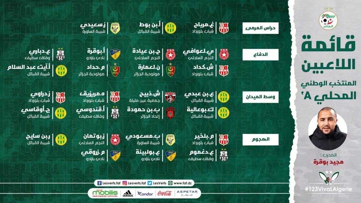 قائمة المنتخب الجزائري المحلي لمواجهة سوريا وبورندي وديا