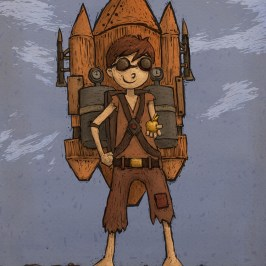 Digital Illustration of a boy with a rocket for a children's picture book