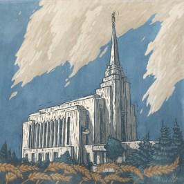 Digital Illustration of the LDS Rexburg Temple in Idaho near BYU-Idaho
