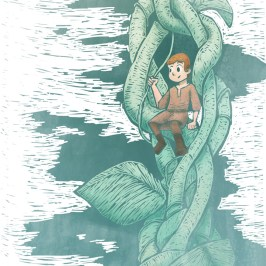 Jack and the beanstalk digital illustration for children's picture book