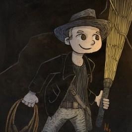 Fan art of little boy playing Indian Jones