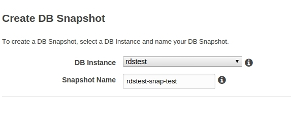 Amazon RDS create snapshot