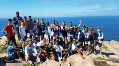 Rugby boys hike at Mossel bay...
