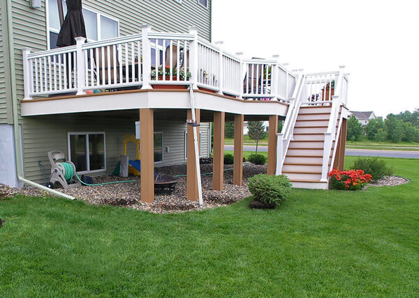 Deck Vs Patio Steps Down From House To Patio Axel Landscape