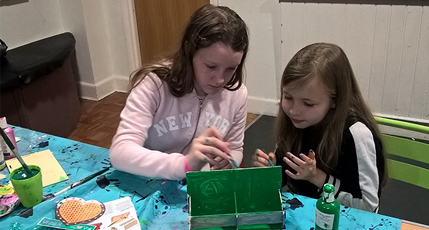 Two girls at craft sessions at Newhaven YFC