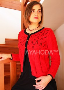 B0081 Ayahoda Hand Knit Designed Women Knitwear Sweater Cardigan