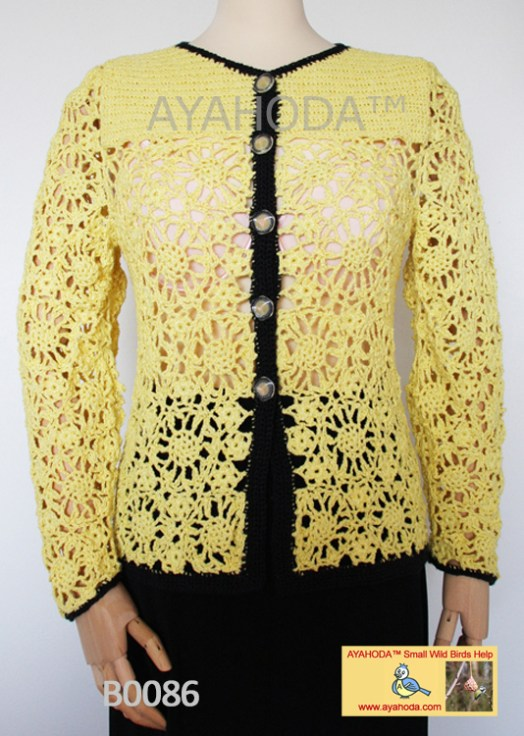 Women knitwear sweater cardigan crocheted yellow Ayahoda Handmade design