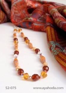 Image of Amber-Color Czech Glass Bead Necklace and Shawl Set S2-075