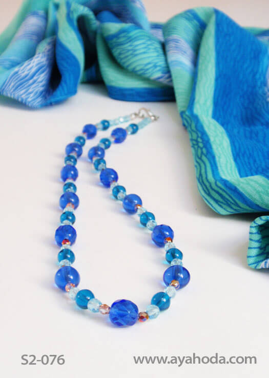 Image of Turqoise Czech Real Glass Beaded Necklace & Shawl Set S2-076