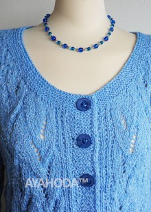 Ayahoda Light blue with white thread Women Cardigan Lacy Handknitted - B0112.