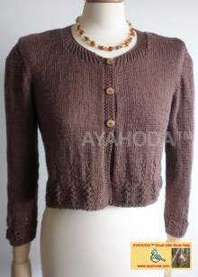 Ayahoda Handmade Women sweater cardigan chocolate brown
