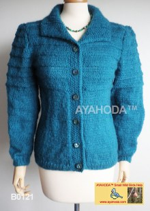 Women sweater winter warn dark green cardigan Ayahoda design