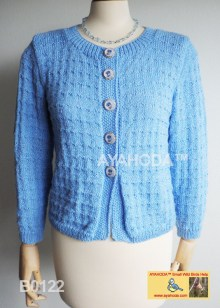 Women sweater cardigan light blue lavender buttons AYAHODA design