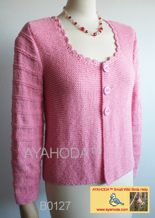 Women sweater cardigan light pink with crocheted neck lightened cotton AYAHODA design - B0127.