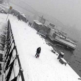 Vltava riverbank in snow