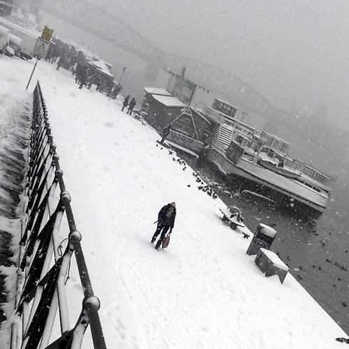 Vltava riverbank in snow