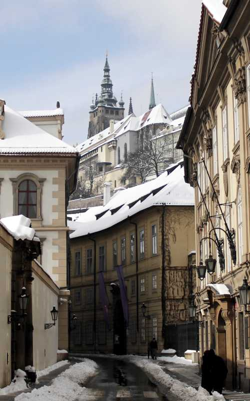 The Prague Castle from Valdstejnska street