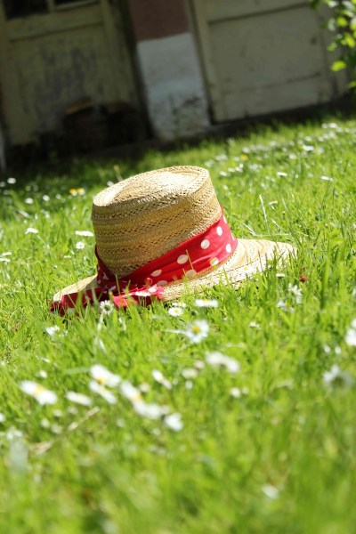 Summer hat in the grass
