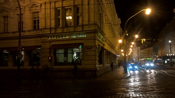 Prague at night - corner of Cafe Slavia
