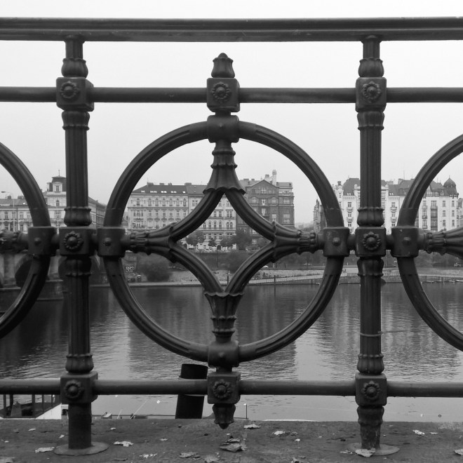 Prague photography black and white riverbank railing