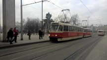 Grey-winter-day-red-tram-Prague