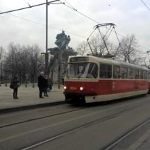 Grey-winter-day-red-tram-Prague