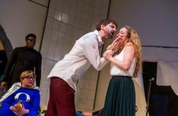 Midsummer Night's Dream, Lyric Hammersmith - John Lightbody as Lysander and Victoria Moseley as Hermia. Photo by Tristram Kenton