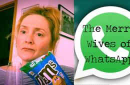 A woman sits on a sofa holding a bag of M&Ms, on the right is the WhatsApp logo with The Merry Wives of WhatsApp written over it in black text.