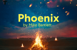 Fires burning with embers in front of a blue and pink sky, the title 'Phoenix, by Mike Bartlett' features in the middle