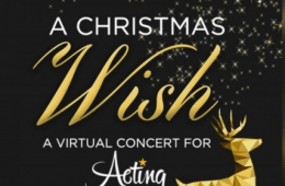 "Text on black background. Reads ""A Christmas Wish, a virtual concert for Acting for Others"""