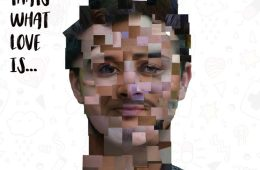 Mans face made up of different squares of photos